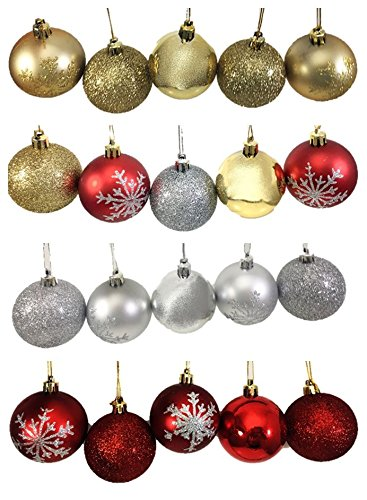 20 glitter baubles ball gold red silver christmas decoration festive tree hanging xmas snowflake ornaments 60mm - Red And Silver Christmas Decorations