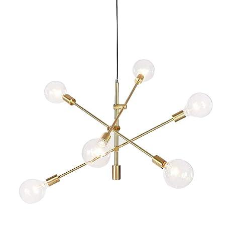 Lámpara de techo con 6 luces de fijación para lámpara de araña, lámpara de techo, lámpara de techo, color dorado, galvanización, metal, Gold(s), E27 ...