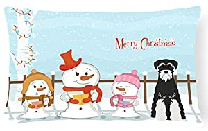 """Caroline tesoros del bb2364pw1216feliz Navidad Carolers estándar Schnauzer Sal y pimienta lienzo Tejido decorativo almohada, 12""""X 16"""" W, multicolor"""