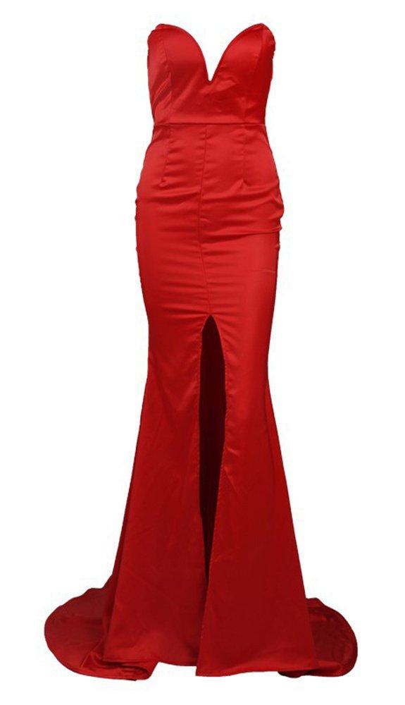 Missord Women's Bra Strapless Prom Maxi Dress Medium Red by Miss ord (Image #5)