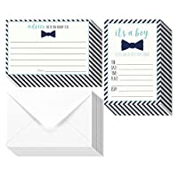 32 Pack Baby Shower Invitations For Boy & Advice Cards Set - 16 Advice Cards & 16 Fill In Style Invites - Blue Bowtie & Stripes Design - Envelopes Included, 5 x 7 Inches