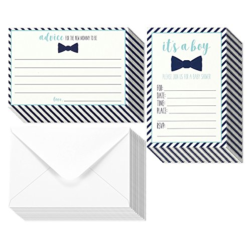 32 Pack Baby Shower Invitations For Boy & Advice Cards Set - 16 Advice Cards & 16 Fill In Style Invites - Blue Bowtie & Stripes Design - Envelopes Included, 5 x 7 (Baby Shower Invitations Greetings)