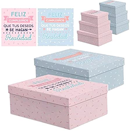 UNIMASA - Juego 3 Cajas Regalo diseño para CUMPLEAÑOS - Gris ...