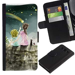 UNIQCASE - Samsung Galaxy S3 III I9300 - Flying Star Sisters - Cuero PU Delgado caso cubierta Shell Armor Funda Case Cover