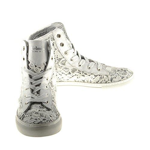 Felmini Blanco Zapatillas Fame Mujer Tela Zapatos B021 Enamorarse Blanco com Genuino Para rTvrwq0a