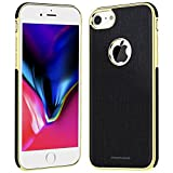 iPhone 7 Case - Slim Fit Soft Rubber PU Leather with Magnetic iPhone 7 Phone Case for Women/Men (4.7 inch) - Black