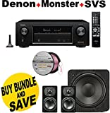 Denon AVR-X1200W 7.2 Channel Full 4K Ultra HD A/V Receiver with Bluetooth and Wi-Fi + SVS Prime Satellite 2.1 High-Grade Polished Piano Black Finish System + Monster - Platinum XP Clear Jacket MKIII 50' Compact Speaker Cable - Clear/Copper Bundle