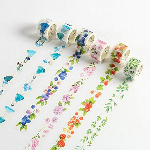 (CJHKJD Masking Tape Random Color 6 pcs Blue Starry Sky Paper washi Tape Fairy Tale Plants Alice Masking Tapes for Diary Album Scrapbooking Decoration Kawaii)