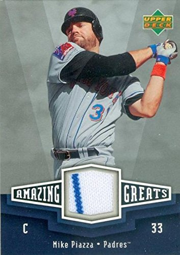 Mike Piazza player worn jersey patch baseball card (New York Mets) 2006 Upper Deck Amazon Greats #AG-MP