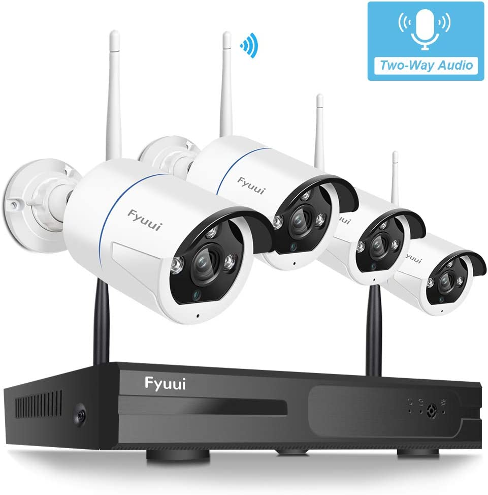 Security Camera System Wireless, Fyuui 1080P 8 Channel Wireless Surveillance NVR 4pcs 2.0 Megapixel 1920 1080P WiFi IP Bullet Camera Outdoor Indoor, 2-Way Audio,H.265 NVR, Auto Pair