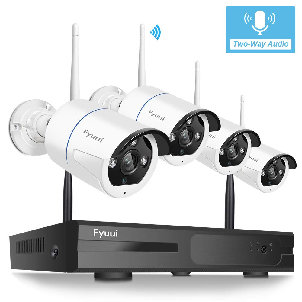 Security Camera System Wireless, Fyuui 1080P 8 Channel Wireless Surveillance NVR 4pcs 2.0 Megapixel (1920×1080P) WiFi IP Bullet Camera Outdoor Indoor, 2-Way Audio,H.265 NVR, Auto Pair by Fyuui