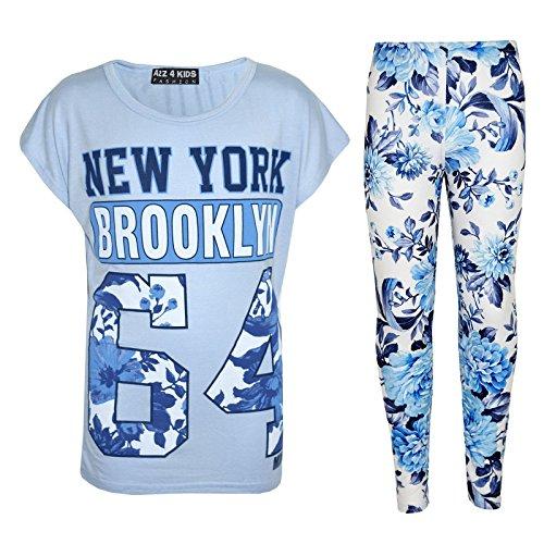 Legging Nueva Edad Moderno 13 floral cielo os elegante 11 Ni 4 8 y 10 A York Ni moda os Estampado os Azul de Ni Conjunto A2z 9 as Top 12 7 WSOwxTqpTz