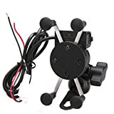Floureon Universal Motorcycle Phone Mount Holder USB Charger for iPhone, Samsung, GPS Device