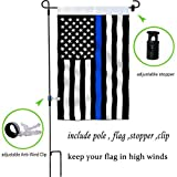 W&X Garden Flag Stand thin blue line garden flag Double-Sided 12.6x20.3 Inch Anti-Wind Clip, Stopper best garden decoration flags