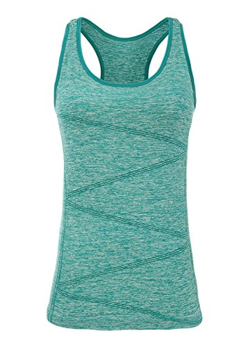Small Workout Tops (DISBEST Yoga Tank Top, Women's Performance Stretch Quick Dry Sports Workout Runing Top Vest With Removeable Pads (Small, Dark Green))
