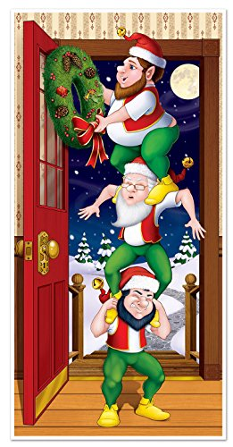 Beistle Christmas Elves Door Cover, 30-Inch by 5-Feet, Multicolor -