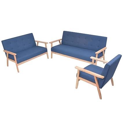 Tidyard- Set de Sofás de 2 uds, Sofá Moderno,Tela,Color Azul ...