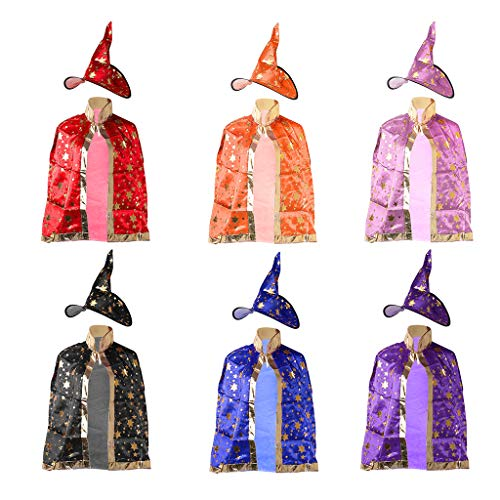 cici store Children Halloween Costume Witch Cloak and Hat,Wizard Gown Robe Cosplay Party Costume Supplies