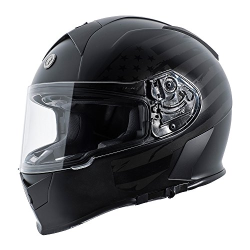 TORC T14 Mako Flag Full Face Helmet (Flat Black, Large) (Helmet Flag Motorcycle)