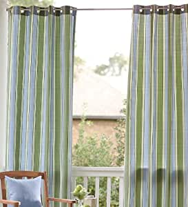 "84""L Olefin Outdoor Grommet-Top Curtain Panel, in Blue Stripe"