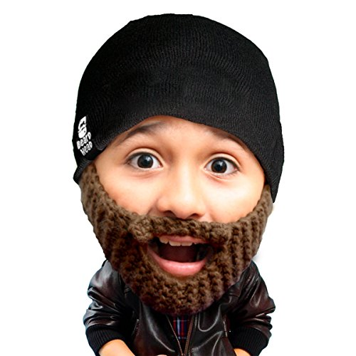 Beard Head Kid Populous Beard Beanie - Knit Hat and Fake Beard for Kids Toddlers Brown]()