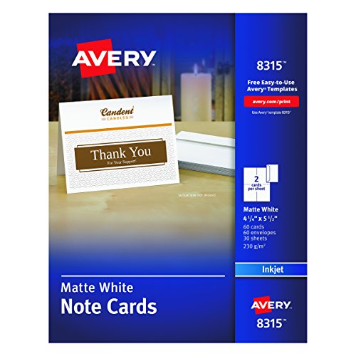 Avery Note Cards  4 25 X 5 5 Inches  Matte  White  Box Of 60  08315