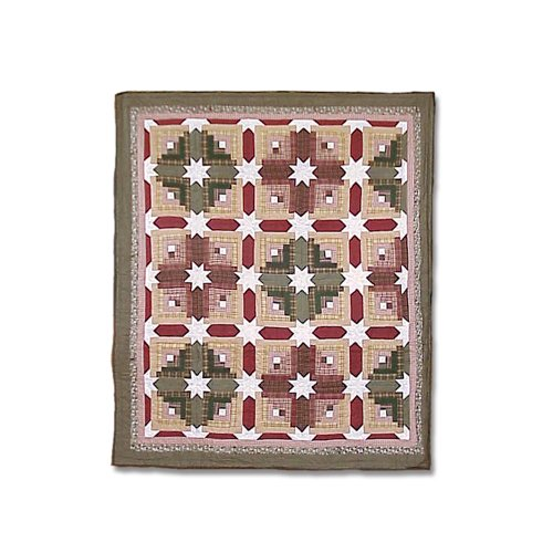 Patch Magic 50-Inch by 60-Inch Snowflake Log Cabin Throw - Log Cabin Throw Quilt