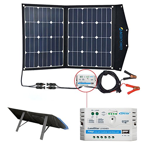 ACOPOWER 12V 70 Watt Foldable Solar Panel Kit; Portable Solar Charger Suitcase of 2x35W Monocrystalline Module & 10A Charge Controller for RV, Boats, Camping; w USB 5V Output as Phone Charger by ACOPOWER