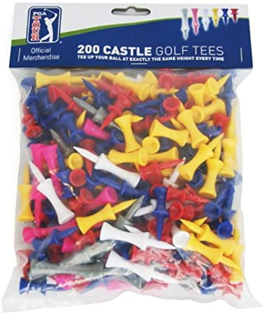 PGA Tour 200 Castle Golf Tees - Red/Yellow/Blue/Pink/Gray