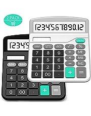 Calculadora, Splaks 2 Pack Calculadora de Escritorio estándar Funcional Sola y AA Batería Dual Power Calculadora Electrónica con 12 dígitos Pantalla Grande (1 Negro + 1 plata)