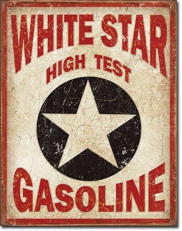 White Star Gasoline Tin Sign 13 x 16in Gasoline Tin