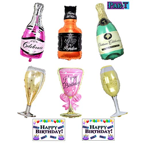 6 Pack Party Large Foil Balloons - Champagne and Whiskey Bottles with Goblet Glasses 33in. Tall by Par-T