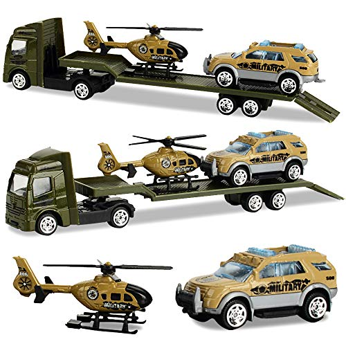 (Minyn Truck Toy Set with Flatbed Trailer Jeep Military Vehicles Die-cast Metal Jeep Cars Set Helicopter Toy Playset for Kids Boys Girls Children)