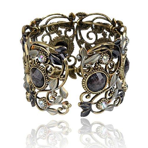 SUMAJU Retro Cuff Bracelet,Vintage Bracelets VTG Black Flower Resin Rhinestone Open Bangle for Women