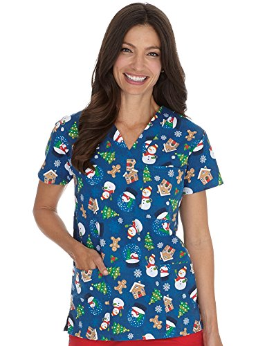 I Love Scrubs Women's Christmas V-Neck Scrub Top, Holiday Treats, (Love Print Scrub)