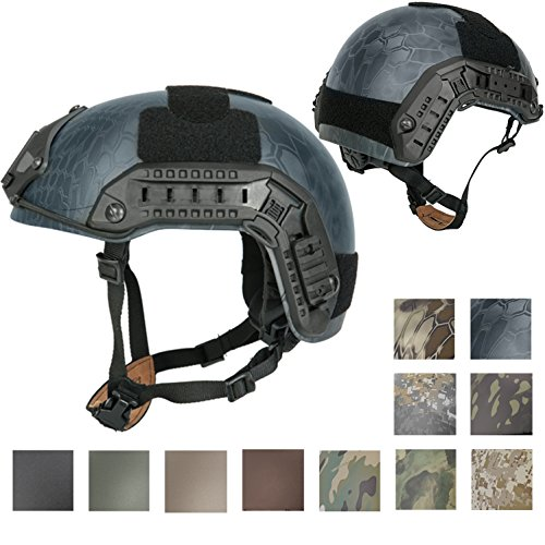 Lancer Tactical LARGE - X-LARGE Industrial ABS Plastic Constructed Maritime Helmet Adjustable Crown with 20mm Side Rail Adapter Velcro padding NVG Shroud Bungee Retention (Abs Plastic Helmet)