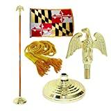 Maryland 3ft x 5ft Flag, Flagpole, Base, and Tassel (Metal Eagle, 7 Ft Oak Pole)