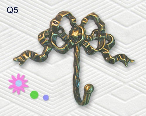 Decorative Solid Brass Bow Wall Hook - Set of 5 Pieces ()