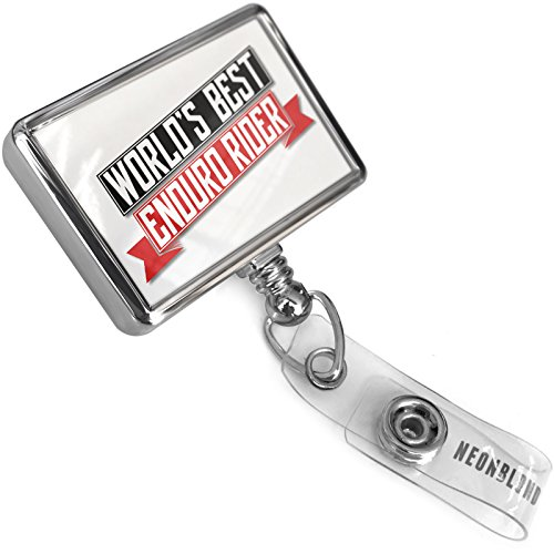 Retractable ID Badge Reel Worlds Best Enduro Rider with Bulldog Belt Clip On Holder Neonblond ()