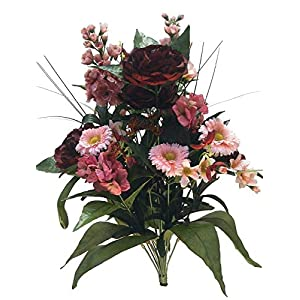 Factory Direct Craft Artificial Peony and Zinnia Bush 15