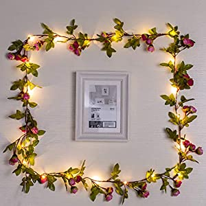 Omika Artificial Flowers Rose Vine Fairy Lights, 6.5ft 20 LED Battery Powered Hanging Garland String Light for Wedding Bouquets Centerpieces Arrangements Party Baby Shower Party Home Decorations 3