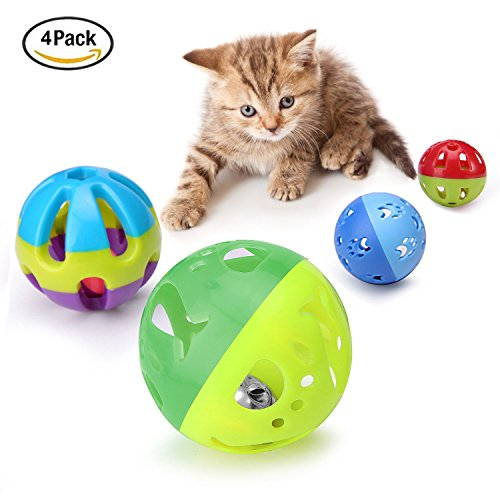 Chengyu 4 Sizes Pack Bin Kitten Cat Pet Playing Plastic Ball Sets Toys with Jingle Bell 3.8in, 2.8in, 1.8in,1.5in