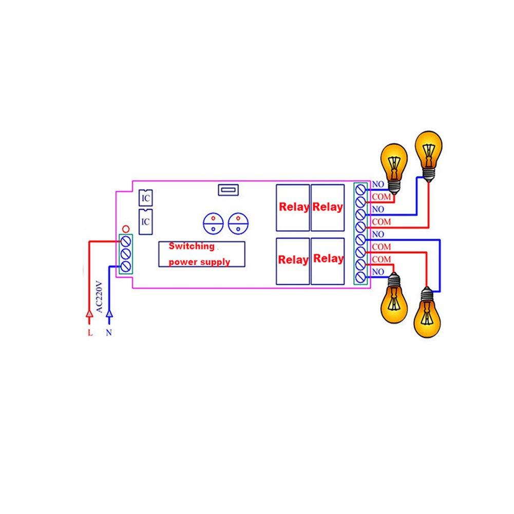 Lejin AC85v ~ 250V 110V 230V 4CH 4 Channel Radio Remote Control Wireless Remote Control Switch 220V Relay Output Radio RF Transmitter Radio System 433Mhz Receiver