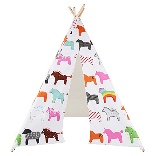 Kids Teepee Play Tent - 5' Feet Tall Large Premium Handcrafted Indoor Children Indian Tent by Wonder Space, Ideal Activity Play Center Playroom for Toddlers and Kids (Horses) - Handmade Heritage Panels