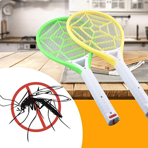 Botrong Rechargeable LED Electric Fly Mosquito Swatter Bug Zapper Racket Insect Get Rid (Random Color, 1 Piece) - Fly In Dry Shell