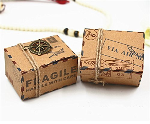 LoReen 50PCS Candy Gift Boxes Retro Post Mail Style Rustic Kraft Boxes DIY Homemade Gift Boxes for Wedding,Birthdays,Thanksgiving,Graduations