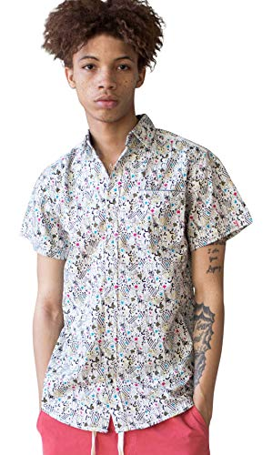 Ragstock Men's Casual Button-Up Icon-Printed Woven Shirts (X-Large, 90s-giraffe-1971) ()