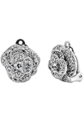 Clip-on CZ Pave Layered Flower Earrings