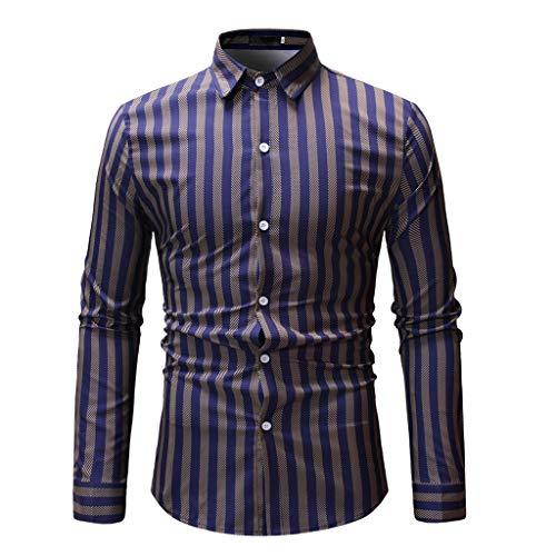 Mens Spring Tops Fashion Printed Stripe Shirts Casual Slim Blouse