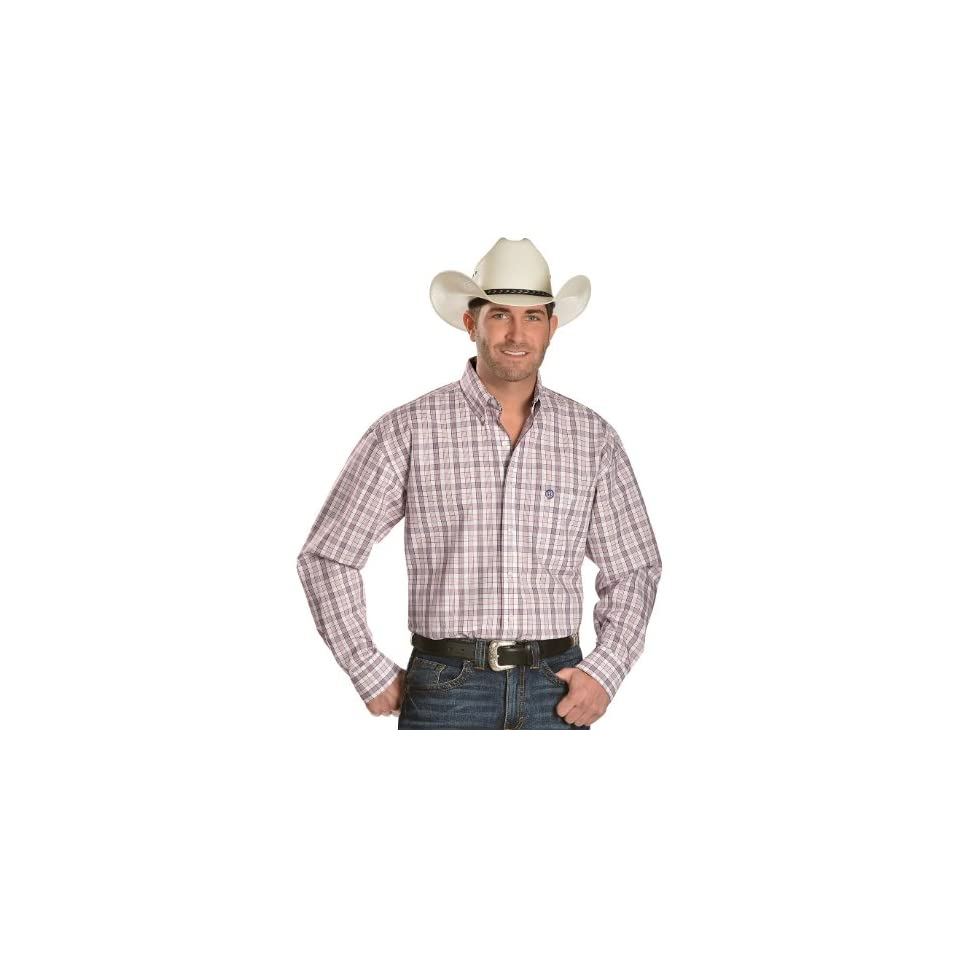 Wrangler George Strait Men's Plaid Long Sleeve Shirt Big And Tall White Large Tall at  Men's Clothing store